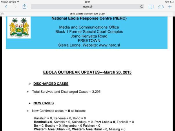 bollettino ebola 20 marzo: zero nuovi casi