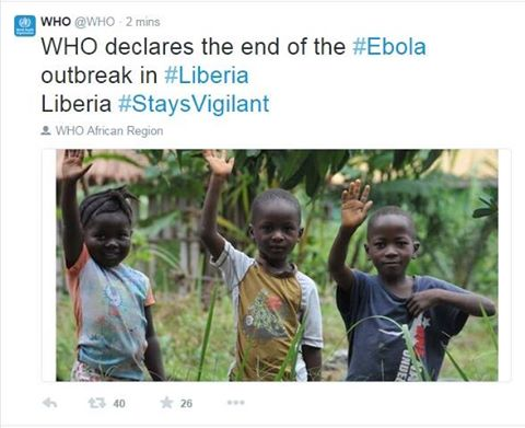 WHO declares end of  ebola in liberia