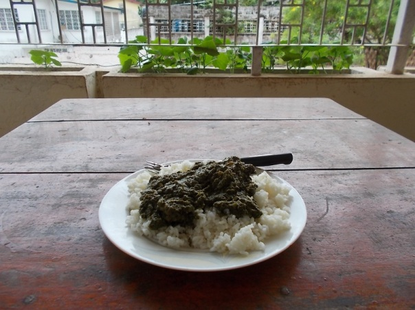Rice with cassava leaves