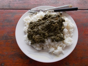 Rice with cassava leaves - riso e foglie di cassava