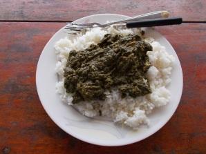 Rice with cassava leaves - riso e foglie di cassava