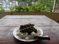 Rice with potato leaves - riso con foglie di patata