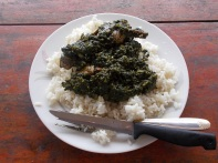 Rice with potato leaves - riso con foglie di patata