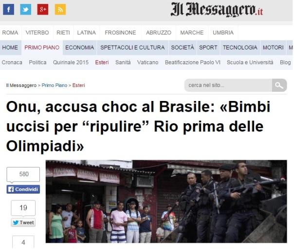 Il messaggero onu accusa brasile bambini uccisi